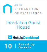 2018 Recognition of excellence, Interlaken Guest House, Rated by guests on HotelsCombined.com