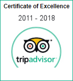 Trip Advisor Certificate of Excellence 2011 - 2018